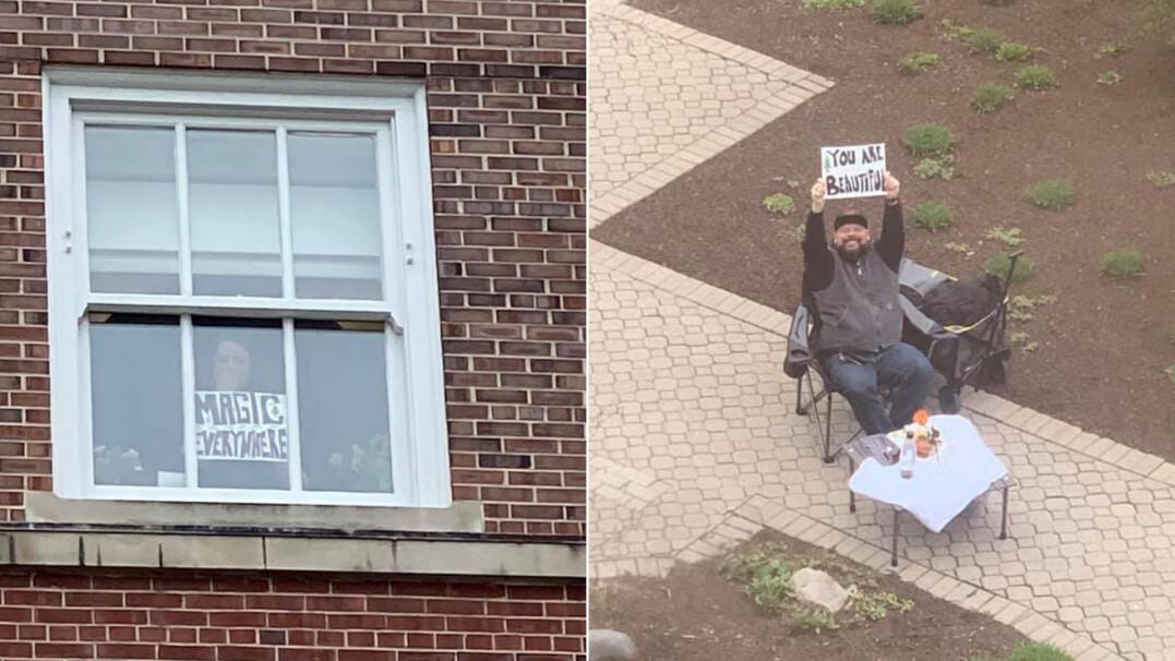 Przychodzi pod okno szpitala, by wspierać swoją żonę