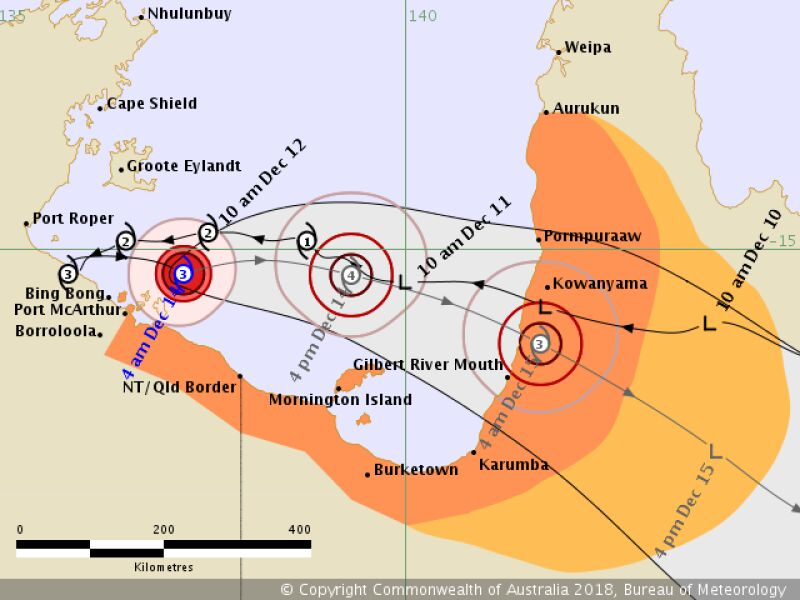 Prognozowana ścieżka przejścia burzy Owen (bom.gov.au)